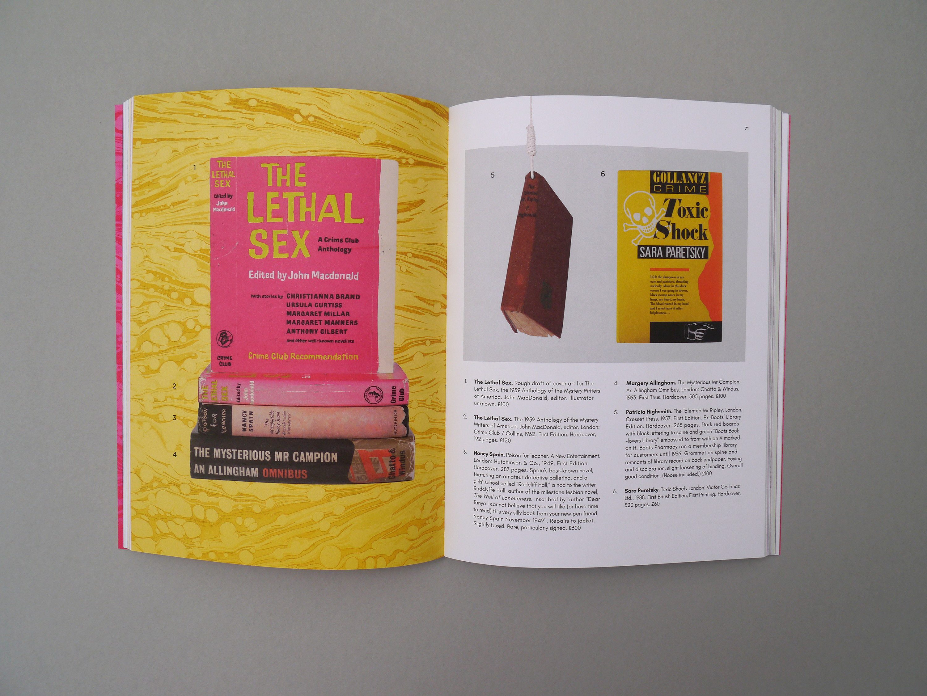Internal booklet pages mostly bright yellow and pink