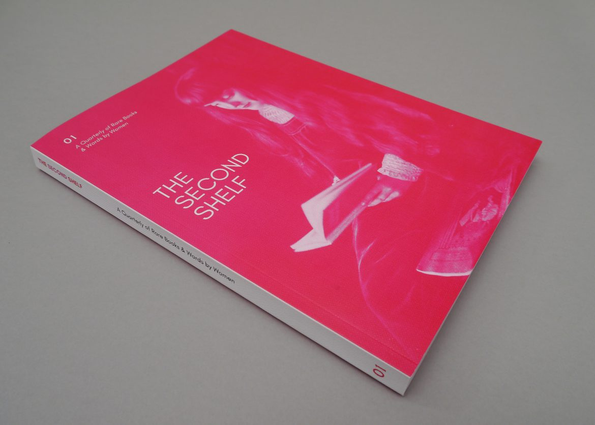 Bright pink portrait format booklet with embossed cover